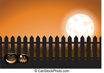 halloween picket fence - a vector illustration of a...