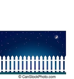 white picket fence at night - a vector illustration of a...