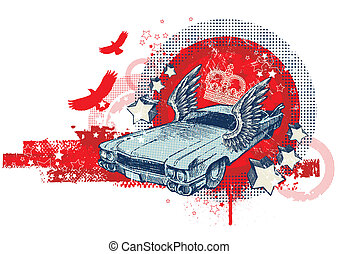 Abstract vector illustration with hand drawn winged retro car
