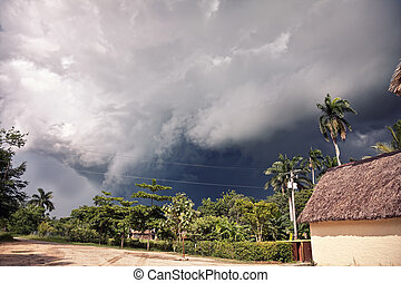 thunderstorm - the beginning of thunderstorm in tropical...