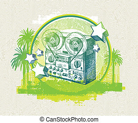 Abstract vector musical  illustration with hand drawn retro tape recorder