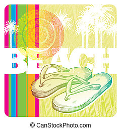 Hand drawn slippers - Abstract vector tropics and hand drawn...