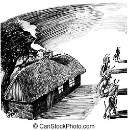 cottage house and four horsemen drawing illustration