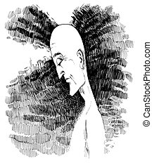 man in meditation - drawing sketch illustration of man in...