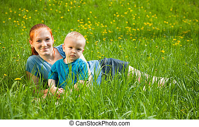 mother with  boy son