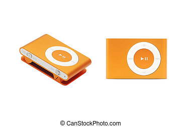 mp3 player - orange mp3 player isolated on white