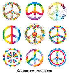 set of peace symbols - set of abstract peace symbols vector...