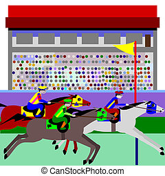 Horse racing - Illustration of cartoon horses, racing at a...