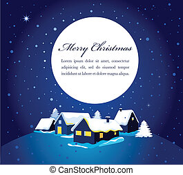 Christmas card with night town and snow