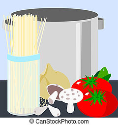 Pasta and pot - Illustration of pasta and a pot. Some of the...