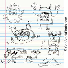 Monster doodles set - Vector monster doodles on a notebook...