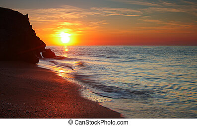Sun setting at the Sea of Azov background - Sun setting at...
