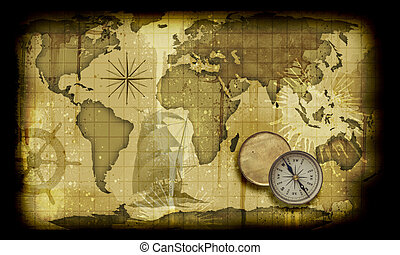Old paper world map - Image of an old paper world map