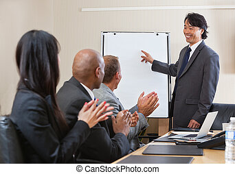 Giving applause at business conference - People giving...