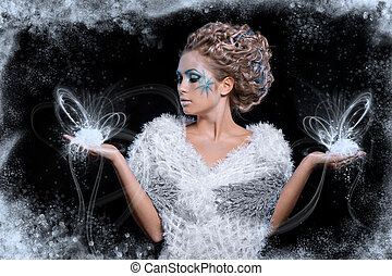 ice queen - beautiful attractive girl with make up and hair...
