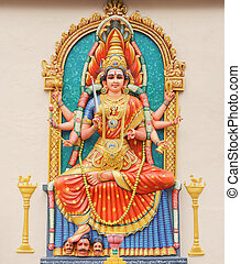 Hindu Goddess Durga direct frontal overall view....