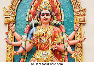 Hindu Goddess Durga direct close up shot