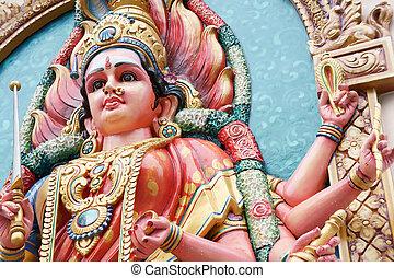 Hindu Goddess Durga right view close up.