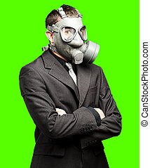 business man with mask - portrait of business man wearing...