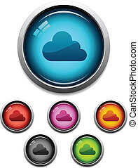 Cloud button icon - Glossy cloud button icon set in 6 colors