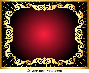 background with gold by pattern and ray - illustration...