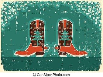 Cowboy christmas card with boots and holiday decoration on...
