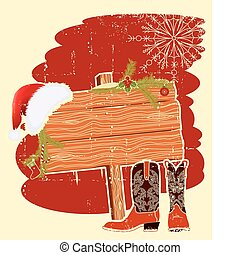 Billboard frame with cowboy boots and Santa's red hat on wood wall.Vector christmas background for text