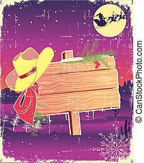 Billboard frame with cowboy hat.Retro christmas background...