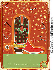 Cowboy christmas card with boot for text - Cowboy christmas...