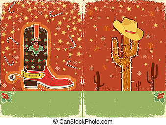 Cowboy christmas card for text.Grunge poster - Cowboy...