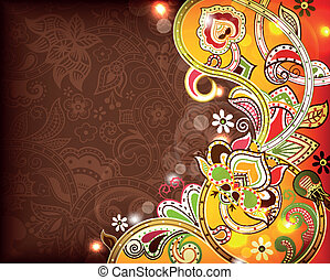 Floral Abstract Background - Illustration of abstract floral...