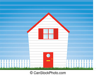 house and garden with picket fence - a vector illustration...