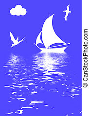 illustration sailboat in ocean