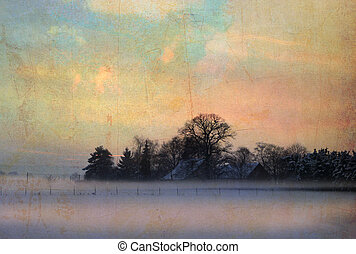 vintage winter landscape - created by combining different...