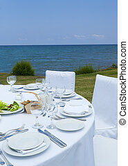 Gourme lunch on the sea shore - Prepared gourme lunch in...