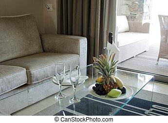 Romantic atmosphere in luxury hotel room.