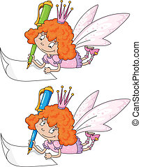 fairy and pen - illustration of a fairy and pen