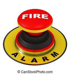 Fire alarm button isolated on a white background.