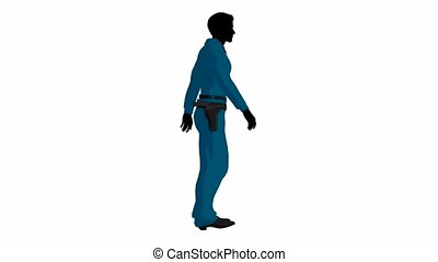 Cowboy walking on a white background