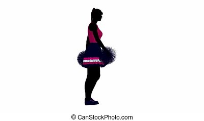 Cheerleader - Female cheerleader walking on a white...