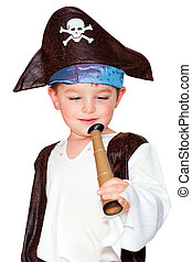 Boy in pirate costume - Cute young boy playing with pirate...