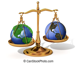 Global justice scale metaphor with justice scale holding in...