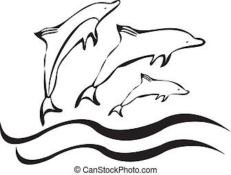 Dolphins silhouettes vector and waves