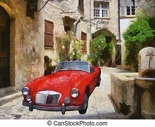 Vector Vintage cars oil painting - Vector MG (MGA) Sports...