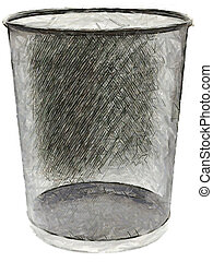 waste basket. felt-tip illustration