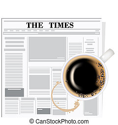 The newspaper and coffee The coffee cup on a white...