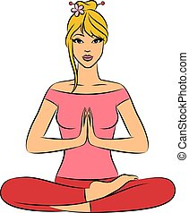 woman sitting in yoga lotus positio - Beautiful woman...