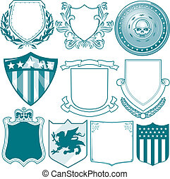 Shield Collection - Clip art collection of various types of...