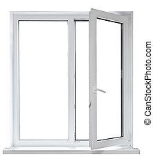 White plastic double door window isolated on white...