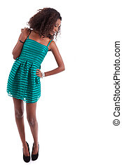 Young beautiful African American woman , isolated on white...